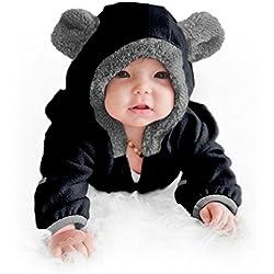 Cuddle Club Mono Polar Bebé para Recién Nacidos a Niños 4 Años - Pijamas Infantiles Chaqueta de Invierno Abrigo Polar Niño Mono de Niños - BearBlack12-18m