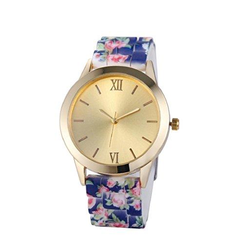 Sannysis® Mujeres banda de silicona reloj de pulsera; Flor Pettern reloj de pulsera(azul Profundo)