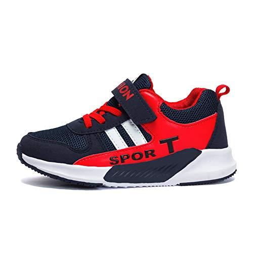 Atmungsaktiv Turnschuhe Jungen Hallenschuhe Kinder Sneaker Mädchen Bequeme Schuhe Outdoor Laufschuhe für Unisex-Kinder 28-40 (31 EU, 679-Dunkelblaues Rot)