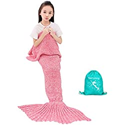 Cola De Sirena Manta - Regalos para niñas, Manta De Sirena Para Niñas, Bolsas De Dormir Para Niños,La mejor opción para regalos de niñas, Regalo de Navidad, Regalos de cumpleaños(Thick Pink)
