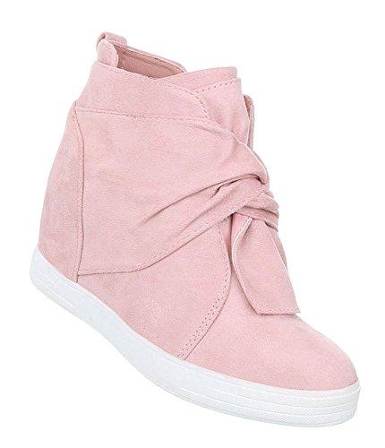 Schuhcity24 Damen Sneakers | Sneaker Wedges | Keilabsatz Schuhe | Wedge Sportschuhe | Basketball Style | Freizeitschuhe Klettverschluss Hellrosa 39 (Mini Boot Wedge)