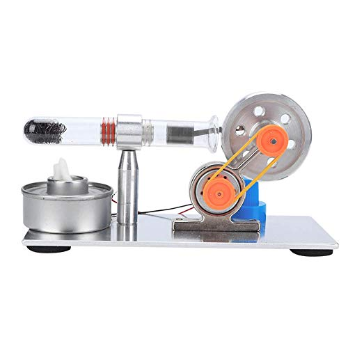 Stirling Engine, Single Cylinder Sterling Engine Model Steam Power Physics Science Lab Teaching Tool with LED Light, Gift for Kids Adults Craft Orname