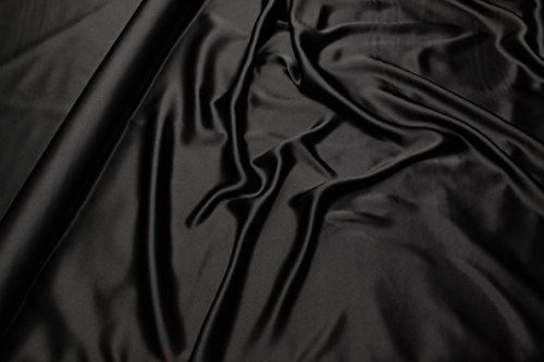 Escalano Seide Satin Schwarz Meterware Maulbeerseide 100% Italienisch 100% Seide Silk -