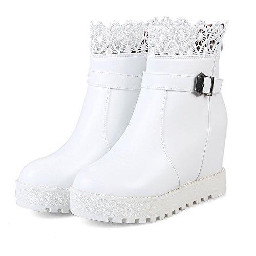 UH Femmes Chaussures Bottines avec Lace à Cheville Fermeture Eclair Retour Talons Moyenne Compenses Bout Rond Elegantes Blanc