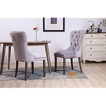 PS Global Set of 2 Velvet Dining Chairs, Deep Button with Chrome Knocker and Studs, Chrome Studded, Easy Assembly, Hand Made, Plush Velvet, (Light Grey)