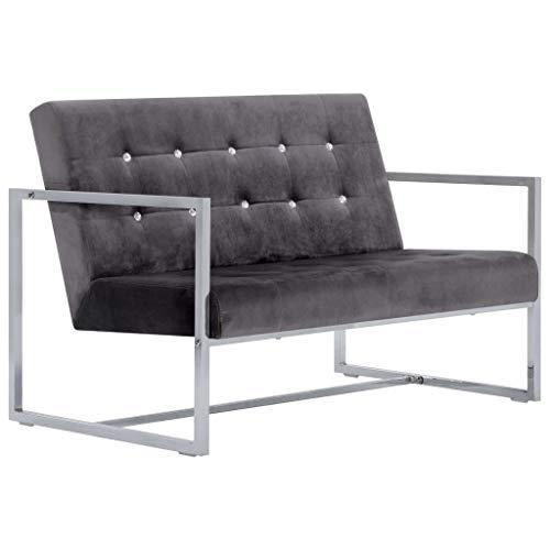 Festnight- 2-Sitzer-Sofa mit Armlehnen Schlafsessel für Zweisitzer Personen Couchgarnitur, Sofagarnitur, Polstersofa Wohnzimmer Dunkelgrau Chrom und Samt
