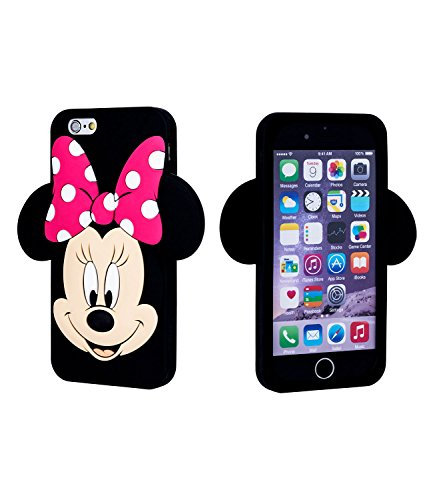 SIX Kids Disney, Mickey Mouse, Minnie, Handyhülle, Schutzhülle, Soft Case, Bumper, kompatibel mit iPhone 6, schwarz, rosa (483-065)