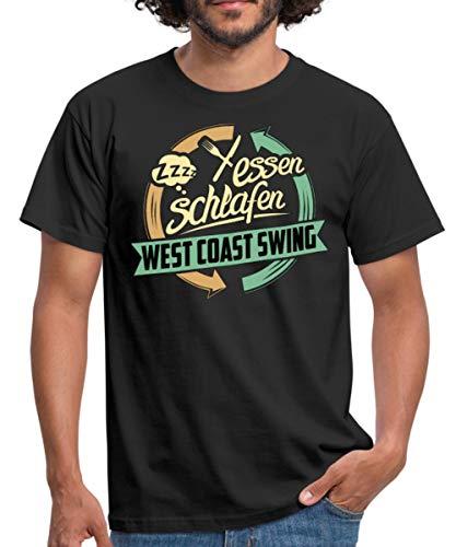 Spreadshirt Essen Schlafen West Coast Swing Tanzen Rahmenlos Hobby Lustig Geschenk Männer T-Shirt, L, Schwarz -