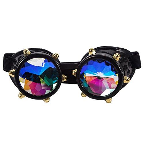 AFUT Archaistisch Schutzbrille Rollenspiel Halloween Kristall Schwarzes Rahmen