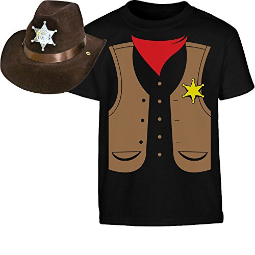 KIDS SET Cowboy Sheriff Kostüm SHIRT + HUT Kinder T-Shirt - Gr. 140-182 X-Small (Sheriff Tshirt Kostüme)