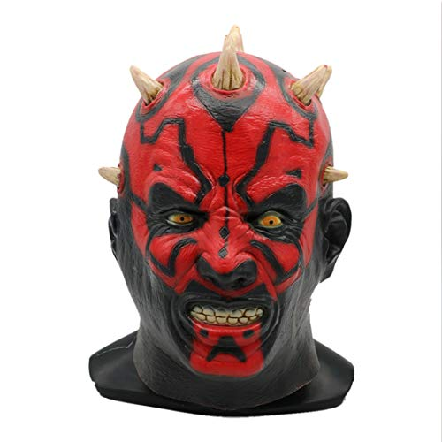 WYJSS Halloween Horror Latex Maske Star Wars Filmthema Darth Moore Maske Scary Ghost Face Man,Red-OneSize