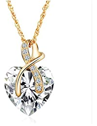 GirlZ! White Austrian Crystal Heart Collars Pendant Necklace With Chain For Women