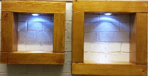 Étagère Cube Lot de 2 étagères en bois massif pin chêne clair avec lampes LED Blanc