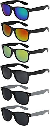 X-CRUZE 6er Pack X0 Nerd Sonnenbrillen Vintage Retro Style Stil Design Unisex Herren Damen Männer...