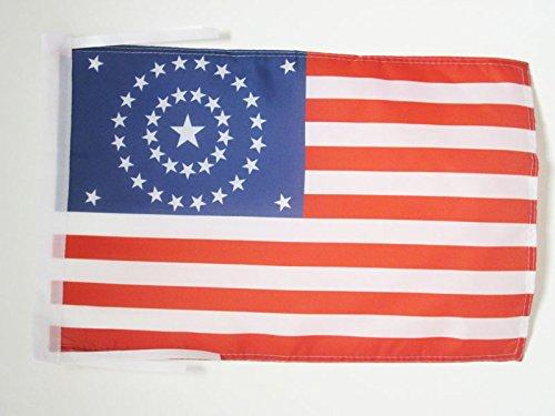 DRAPEAU USA ÉTOILES EN ROND 45x30cm - PAVILLON AMÉRICAIN - ETATS-UNIS 30 x 45 cm haute qualité - AZ FLAG