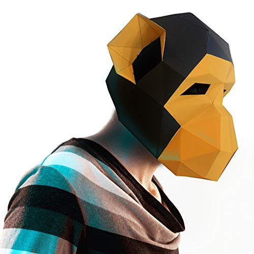 ZYWX DIY Monkey Tier Papierform DIY Material Party Masquerade, Dekoration, Dekoration, Lampenschirm, Weihnachts-/Halloween-Maske,Yellow