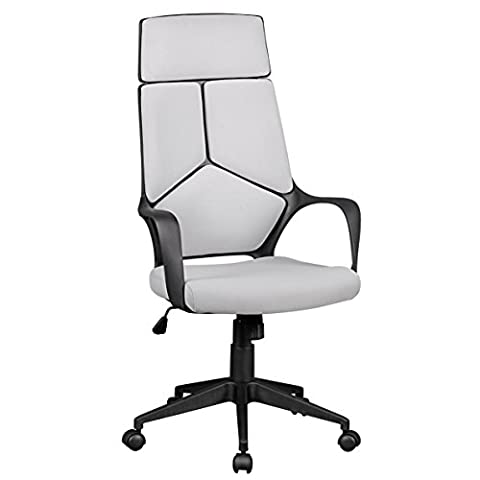 AMSTYLE office chair TECHLINE fabric gray desk chair Design 120 kg executive chair ergonomically high back-rest swivel chair height adjustable with tilt mechanism and armrests headrest X-XL Hochlehner