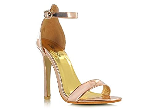Rose Gold Patent Ankle Strap Peep Toe High Heeled Stiletto Sandals Super Comfy for a Casual Summer Look Women's Daytime/Evening Holiday Footwear (UK Womens Size 4, Rose Gold