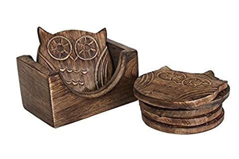Adorable Big eyed Owl Shaped Set of 6 Hand Carved Wooden Bar Tea Coffee Glasses Beer Mug Coaster With