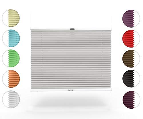 Home-Vision Plissee nach Maß, zum Anschrauben in der Glasleiste Innenrahmen Blickdicht Plissee Jalousie mit Halterungen zum Bohren, Sonnenschutzrollo (Grau, B121-130cm x H151-200cm)