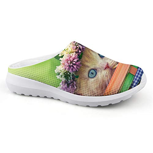 Cute Animal Floral Cats 3D Printed Air Mesh Slip-on Sandals Women Stylish Breathable Slippers Beach Loafers Shoes CA4905CA 36