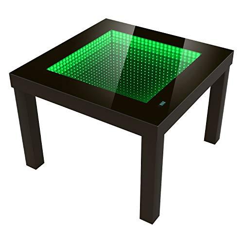 FORAM Moderne Table Basse Profondeur Effet Table LED 3D, a Piles (55cm x 55cm x 45cm) Couleur: Wengé