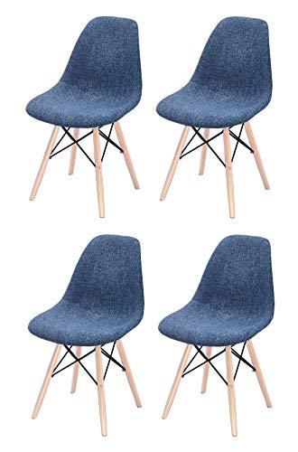 Meubletmoi lotto 4 sedie in tessuto blu - gambe in legno di faggio stile scandinavo, comfort e robustezza - retro