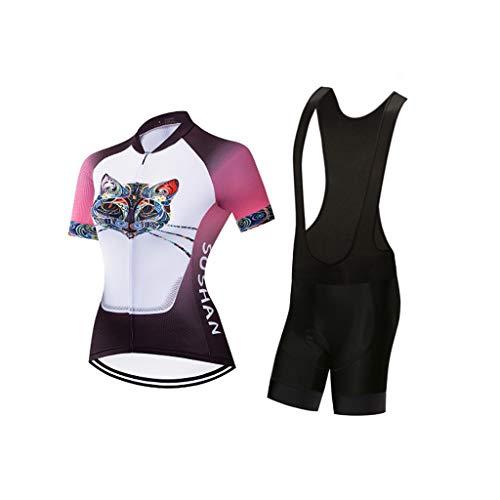 Frauen Kurzarm Radtrikot Mit Gel Gepolsterte Quick Dry Outfits Fahrradbekleidung Sets für Rennrad (Color : 2, Size : XL)