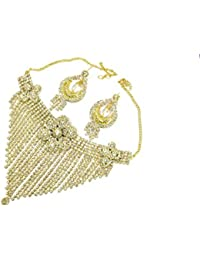 Shree Mauli Creation White Alloy Golden White Stone Party Wear Necklace Set For Women SMCN999