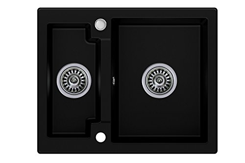 Granitspüle schwarz, 1,5-Becken, Drehexcenter + Siphon, Spülbecken, Küchenspüle, Schrankbreite ab 60 cm (Glas-rohr-kammern)
