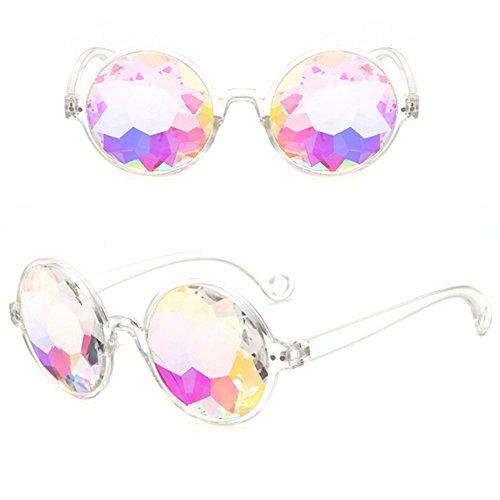 RENNICOCO Kaleidoskop Regenbogen-Steampunk-Brille, Kristallgläser, Schweißaugenschutz, Vintage-Brille Color4