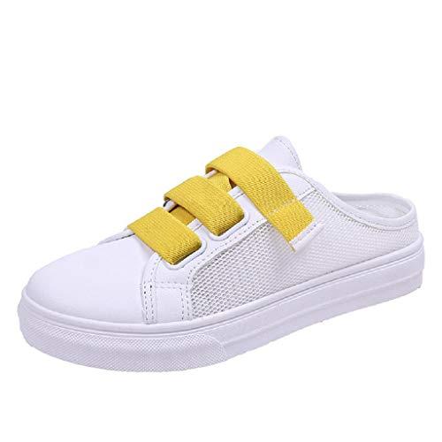 JURTEE Damen Große Größe Netz Tuch Atmungsaktive Kleine Weiße Schuhe Lässig Hausschuhe(36 EU~36.5 EU,Gelb)