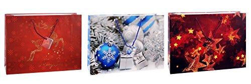 TSI 82924 Geschenkbeutel MIX Weihnachten III, 6er Packung, Größe: Shopper (30 x 41 x12 cm) (3-fach-shopper)
