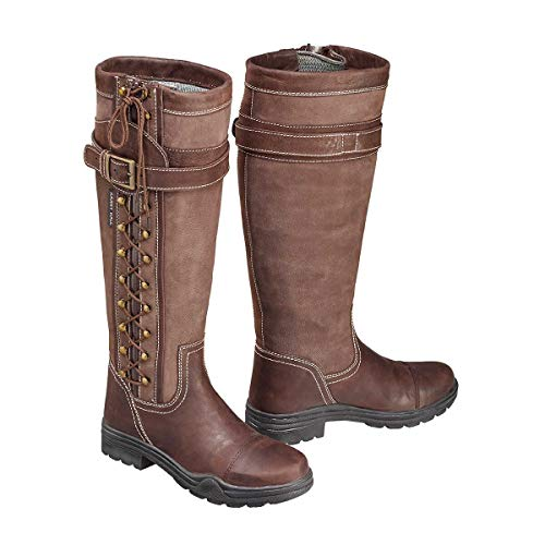 harry hall overstone unisex brown country boots - ladies/mens - comfortable, breathable, waterproof, leather - uk size 3, 8, 9, 10, 11
