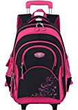 COOFIT Cartable Fille a Roulette Sac a Dos Roulette Fille en Nylon Cartable Trolley...