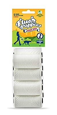 Flush Puppies Flushable Dog Poo Bags Refill Packs, White, Pack of 80