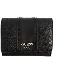acf5ad7996 Portafogli donna Guess in pelle nera con inserti in acciaio. Scomparti porta  tessere, porta