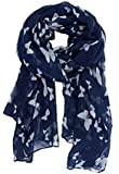 UK Seller!!! New Butterfly Print Ladies Celebrity Style Long Scarves Maxi Scarf, Stole, Wrap, Sarong, shawls. (Navy Blue/White)