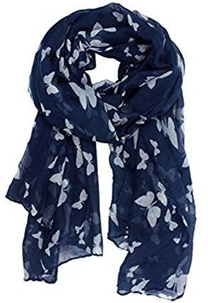 World of Shawls Mujer Estampado De Mariposas Largo Bufandas, Rosa Pastel/Gris - Azul Marino/Blanco, 100 x 180 cm