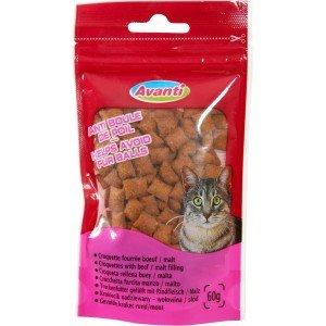 Friandises/croquettes fourrées au boeuf/malt anti boule de poils pour chat/ZOLUX