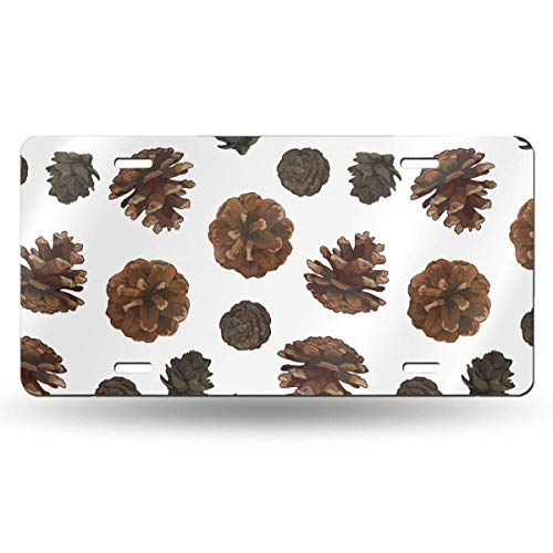 Ganheuze Pine Cones Isolated On White 612inchs Feel Metal Tin Sign Plaque for Home,Bathroom and Bar Wall Decor Car Vehicle License Plate Souvenir Car Decoration -