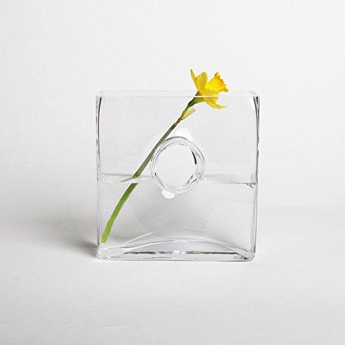 PINKandYELLOW AMZ59 Eckige Glasvase Cube Klar, Handarbeit H26cm