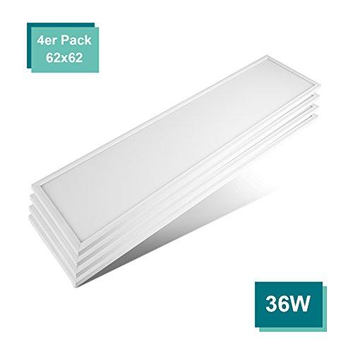 4-panel-gehäuse ([4er Pack zum Sparpreis] OUBO LED Panel Deckenleuchte 120x30cm Naturweiß, 36W, 3000 lumen, 4000K, dünn Ultraslim, Silberes Gehäuse, Wandleuchte für Wohnraum, Bad, Flur, Wand, Decke, Küchen)