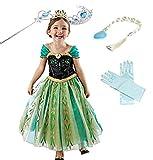 YOGLY Mädchen Prinzessin Elsa Kleid Kostüm Eisprinzessin Set aus Diadem, Handschuhe, Zauberstab, Größe 150,  06 Kleid und Zubehör