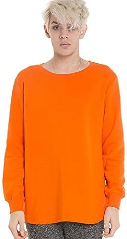 Pizoff Unisex Hip Hop urban basic Langärmliges lang geschnittener Jersey Sweat T-shirt mit abgerundeter Saum Y1195-orange-XL