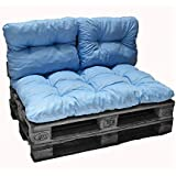Nord-Plume - Kit coussins palette polyester bleu clair 1 assise + 2 dossiers 120x80 cm