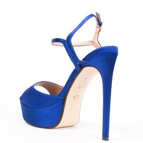 Ideal Shoes - Escarpins à brides Floraline Bleu