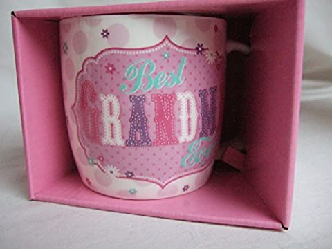 Best Grandma Ever Pink Vintage Style Pattern Sentimental Mug by Vintage Mugs