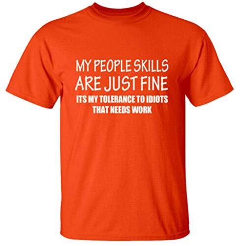 BHYDRY Herren Sommer Mode Lässig Komfort Druck Kurzarm T-Shirt Bluse Tops(Large,Orange (Aces Halloween Running)