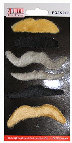 Foxxeo 35213 | Schnurrbärte Set in schwarz grau blond Bart Bärte Karneval Fasching - Blonde Schnurrbart Kostüm